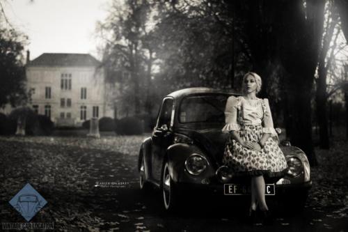 Vintage Car Locationmariage robe voiture Orléans Loiret noir et blanc Fabien Lambrey château du Rollin La Chapelle Saint Masmin